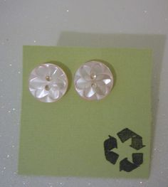 Baby Pink Post-Style Button Flower Earrings, eco friendly, upcycled. $3.75, via Etsy.