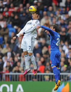 cristiano ronaldo header | Ronaldo Cristiano Ronaldo of Real Madrid CF (L) wins a header ...