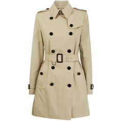 BURBERRY LONDON Poplin Double Breasted Short Trench (€825) ❤ liked on Polyvore featuring outerwear, coats, jackets, coats & jackets, casacos, double breasted trench coat, burberry, trench coat, waist belt and short double breasted coat