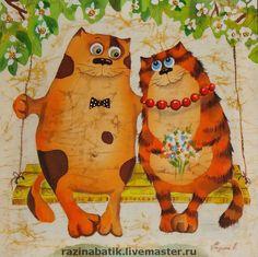 Купить Влюблённые котики - любовь, картина, Батик, кот, ручная роспись, День Святого Валентина