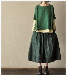 Green Cotton Long Women skirt linen Dress  ---2 colours