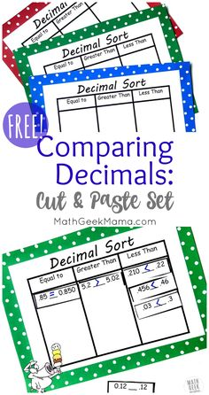 11 Best ordering decimals images | 4th grade math, Fourth