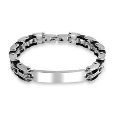 Bling Jewelry Mens en acier inoxydable bracelet d'identification de chaîne de vélo 8.5in gravure gratuite
