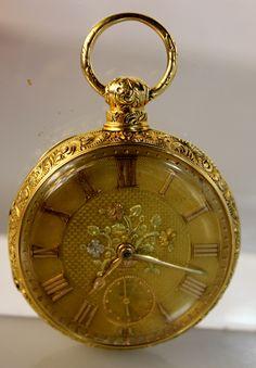 Lot #23: Gold Antique Pocket Watch with Floral Motif, 18kt Gold