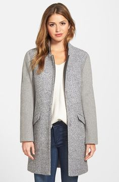 Free shipping and returns on Kenneth Cole New York Contrast Sleeve Bouclé Coat (Regular & Petite) at Nordstrom.com. Contrasting sleevesadd textural interest and mixed-media styleto a classic single-breastedwalking coat crafted from plush bouclé. A third fabric at the notch collar and placket continues the color-blocked motif.