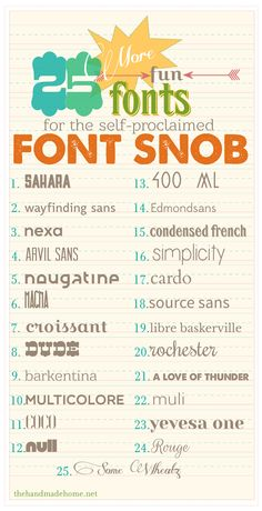 http://www.thehandmadehome.net/2013/01/font-snob-club-25-more-fun-fonts-january-2013/