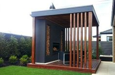 This slick and modern design incorporates wood very cleverly and looks wonderful even in a smaller outdoor space. The open design makes it great for socializing and eating outdoors or spending time in big groups. Gazebo Plans, Gazebo Pergola, Building A Pergola, Pergola Ideas, Small Pergola, Garden Gazebo, Small Patio, Corner Pergola, Covered Pergola
