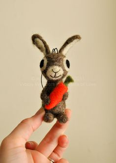 3 Bunny Rabbit with Orange Carrot  Easter Ornament by AdoraWools