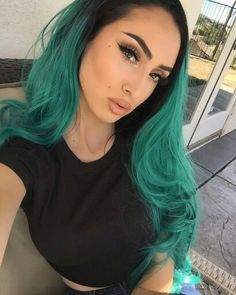 synthetic body wave lace front ombre black to green dark root wig with heat resistant fiber long glueless hair for women Love Hair, Gorgeous Hair, Beautiful, Pretty Hairstyles, Wig Hairstyles, Haircuts, Wig Party, Natural Hair Styles, Long Hair Styles