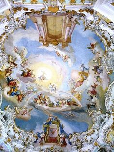 Johann Baptist Zimmermann's ceiling fresco in the Wies Church, painted Ceiling Painting, Ceiling Art, Mural Painting, Paintings, Fresco, Tempera, Greece Art, Baroque Painting, School Murals