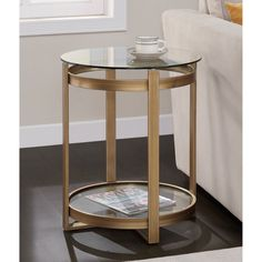 Retro Glitz Glass/ Metal End Table | Overstock™ Shopping - Great Deals on Coffee, Sofa & End Tables