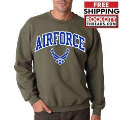 AIR FORCE ARCHED CREW NECK MILITARY GREEN Sweatshirt USAF Hooded Logo Pullover #RockCityThreads #SweatshirtCrew