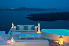Night view of the Grand suite's deck