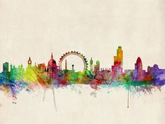 This ready to hang gallery wrapped art piece features London skyline. 'London Skyline' by Michael Tompsett Ready to Hang Canvas Wall Art Art Et Illustration, Illustrations, Skyline Von London, Paris Skyline, Skyline Art, Skyline Painting, Cityscape Art, Guache, Art Design