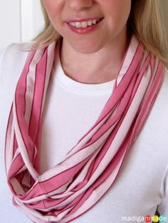 All you need is an old tee and a pair of scissors to make these infinity scarves in minutes!