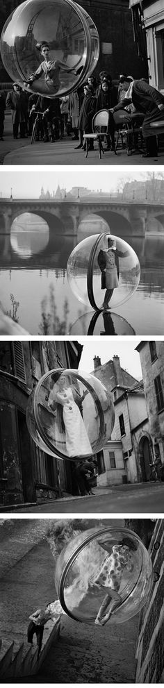 "Famous ""Bubble"" series for Harper's Bazaar Spring Collection, Paris, 1963 by Melvin Sokolsky."