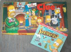 SIMPSONS CLUE Parker Brothers Board Game Springfield Guide Cartoons TV VT Games Vintage