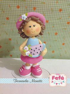 TOPO MENININHA COM MELANCIA | Fernanda Minatti Biscuit porcelana fria polymer…