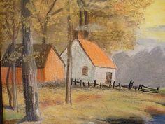 Antique Chalk Pastel Landscape Vintage Original Art In Period