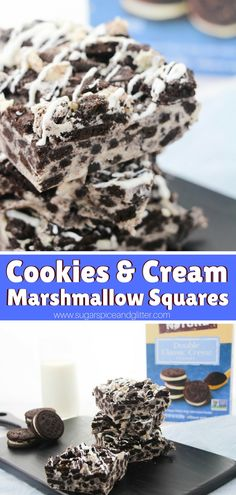 No bake Cookies and Cream Marshmallow Squares - the perfect combination of chocolate and marshmallow, crunchy and chewy - an instant classic!
