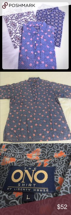 🌺ONO ALOHA SHIRTS🌺 LOT OF 3📣🎉 📣LOT OF 3!!!! Authentic ONO ALOHA SHIRTS🌺🎉 extremely rare and authentic ONO aloha shirts from liberty house (Hawaii's original fashion store)! 1) paisley print, 2) camelia print 3)Asian mon inspired print- all pullover, 3 button down, shirt sleeve, size L!!!! *listed together but may be purchased seperately ONO Shirts Casual Button Down Shirts