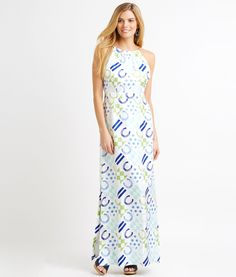 """Horseshoe Patckwork Maxi Dress for the Kentucky Derby - Vineyard Vines. Fabrics:  · 100% pure silk    Features:  · Long, flowing warm-weather silk twill fabric   · Our best-selling maxi silhouette   · An inspired addition to our Kentucky Derby® collection and a Shep & Ian Derby favorite   · Detailed gold horse bit hardware on front neckline   · Heritage patchwork print   · Flattering halter neckline   · Fitted waist with light shirring   · Side slits   · Body length: 35"""""""