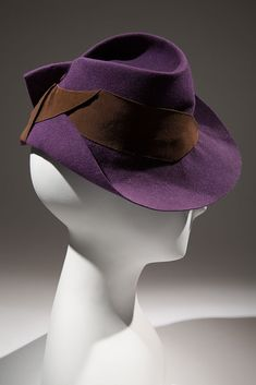 Purple felt and brown grosgrain hat, maker unknown, circa 1936, possibly New York, gift of Mrs. Janet Chatfield-Taylor | copyright Eileen Co...