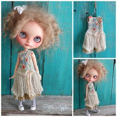 Blythe doll outfit *Wild flowers* OOAK vintage embroidered dress