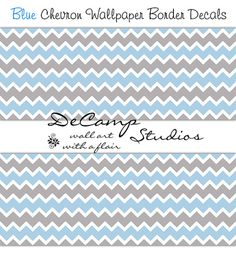 Blue Grey Gray Chevron wallpaper border wall decals for baby boy nursery or any children's bedroom decor. Soft Pastel colors #decampstudios