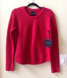 NWT CYNTHIA ROWLEY SOLID RED WOOL BLEND LONG SLEEVE TEXTURED SWEATER SIZE L #CynthiaRowley #Crewneck