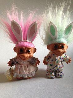 Russ Trolls Troll Dolls Easter Bunny Set by FunkytownMarket