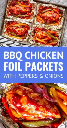 Grilled BBQ Chicken Foil Packets -- These juicy, flavorful & easy chicken foil packets with peppers and onions are the perfect all-in-one meal! Make them up early in the day for dinner or prep a whole bunch of them for your next cookout. Bbq Chicken Salad, Grilled Chicken Recipes, Healthy Chicken, Barbecue Chicken, Recipe Chicken, Foil Packet Dinners, Foil Pack Meals, Tin Foil Dinners, Grilling Recipes