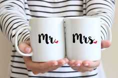 Personalized Coffee Mugs Personalized Mr and Mrs Mugs Set of 2 Couple Mugs Wedding Mugs Engagement Gift Wedding Gift for Couples by WillowAndOlive on Etsy Couples Coffee Mugs, Couple Mugs, Funny Coffee Mugs, Funny Mugs, Funny Gifts, Cute Coffee Cups, Coffee Mug Sets, Mugs Set, Coffee Art