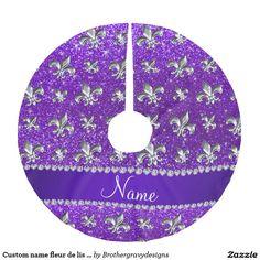 Custom name fleur de lis indigo purple glitter brushed polyester tree skirt