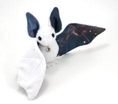 White Bat Plush Toy Galaxy Print Stuffed Animal Space Bat
