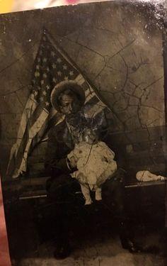 Rare Antique Tintype Photo Of Black Man  American Flag,Civil War,cowboy  | eBay