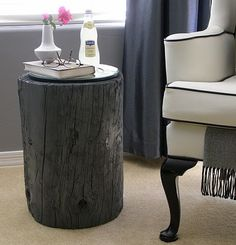 I like the idea of using a log for a side table or maybe some seating for our outdoor kitchen.