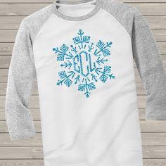 monogram glitter shirt, sparkly snowflake adult colorblock raglan shirt
