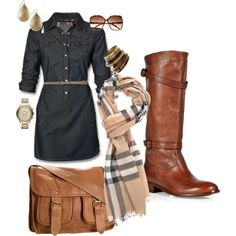 A Fall look; burberry scarf, boots, dress, tan bag