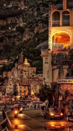 AMALFI - wonderful Sunset Panorama - vert Italia you do me so well 🍾 Places Around The World, Oh The Places You'll Go, Travel Around The World, Beautiful Places To Travel, Wonderful Places, Romantic Travel, Romantic Places, Dream Vacations, Vacation Spots