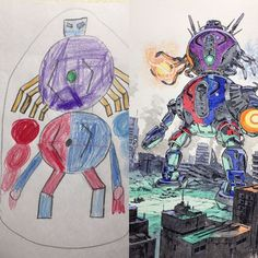 Thomas Romain is a French anime artist lives in Tokyo. He has been used to turns his son's doodles into anime characters. Thomas Romain, Art Thomas, Cartoon Drawings, Art Drawings, Character Art, Character Design, Badass Drawings, Robot Concept Art, Watercolor Artwork