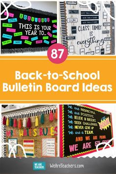 Get the best back-to-school bulletin board ideas right here from WeAreTeachers' most creative educators. You'll want to steal these ideas! Speech Bulletin Boards, Hallway Bulletin Boards, Elementary Bulletin Boards, Interactive Bulletin Boards, Teacher Bulletin Boards, Reading Bulletin Boards, Back To School Bulletin Boards, Math Boards, Inspirational Bulletin Boards
