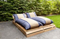 Big Pillows SunSleeper in Blue Jeans en Cacao Outdoor Seating, Outdoor Decor, Big Pillows, Cozy Room, Blue Jeans, Lounge, Outdoor Furniture, Bed, Home Decor