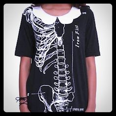 Collared Skeleton Shirt Rad black tshirt with skeleton graphic and white collar. Runs small. Cotton/polyester blend. Imported. Tops Tees - Short Sleeve