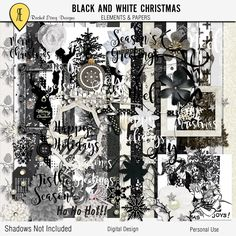 Black And White Christmas -  Digital Scrapbooking Full Kit by Racheletrogdesigns on Etsy