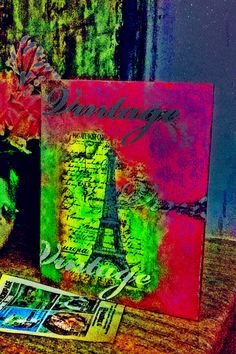 my first decoupage artwork... love in paris... love in a book... hdr photo #mariagrapsa