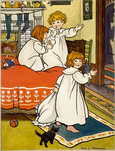 Three Children on Christmas Eve - Illustration by Rosa C. Petherick - 1900
