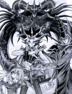 Yami Yugi (Atem), Dark Magician, Dark Magician Girl, and Magician of Black Chaos Yu Gi Oh, Manga Anime, Anime Art, Dark Magician Cards, Geeks, Gatomon, Animation, Animes Wallpapers, Anime Shows