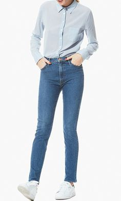 These skinny jeans will be the most versatile pair in your closet, thanks to a medium wash and high-waisted, slightly stretchy fit.