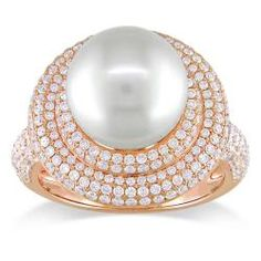 South Sea pearl and diamond ring14-karat pink gold jewelryClick here for ring sizing guide